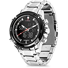 Business Mens Analog Digital Watch, Quartz Dual Time Zone Electronic Watches Waterproof Heavy Wristwatch with Alarm Stopwatch