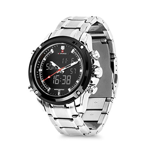 Business Mens Analog Digital Watch, Quartz Dual Time Zone Electronic Watches Waterproof Heavy Wristwatch with Alarm -