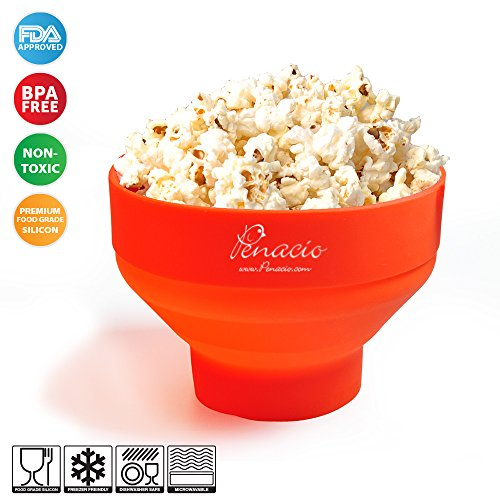 Premium Collapsible Pop Corn Popper Bowl - Microwave Hot Air Silicone Popcorn Maker - Easy to Use & No Oil Needed - Prepare Up To 8 Cups Of Healthy Pop Corn In Mere Minutes - BPA Free & FDA Approved (Rated Popcorn Popper Best)