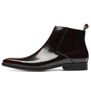 Botas Martin para Hombre Botas Altas De Cuero Genuino Zapato Botines De Charol para Banquete Vestido