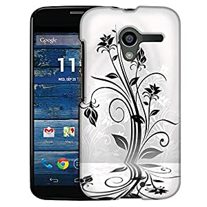 Motorola Moto X Case, Slim Fit Snap On Cover by Trek Black Plant Beautiful Shadows on White Case