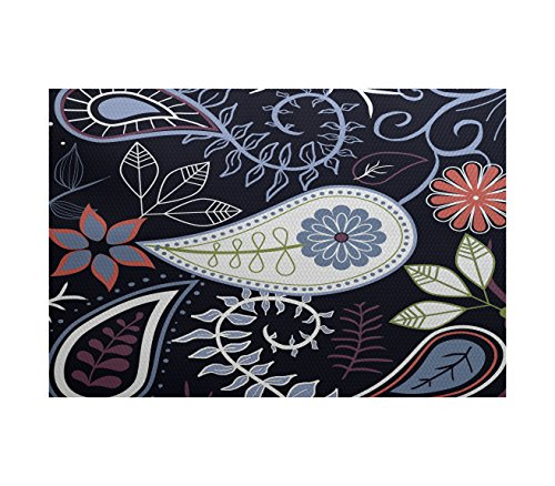 E by design RFN434BL14-23 Paisley Floral Floral Print Indoor/Outdoor Rug, 2' x 3', Navy Blue