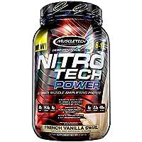 MuscleTech Nitro Tech Power - Proteína de suero en polvo, fórmula de construcción muscular, remolino de vainilla francés, 2 libras