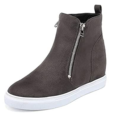 Susanny High Top Platform Wedge Sneakers for Women Ankle Booties Faux Leather Slip On Fashion Sneaker Zipper Casual Shoes Beige Size: 6