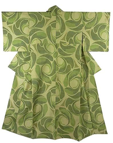 イブ求人誓約リサイクル 着物 正絹 袷 紬  ユニークな抽象模様 お洒落 裄65cm 身丈156cm