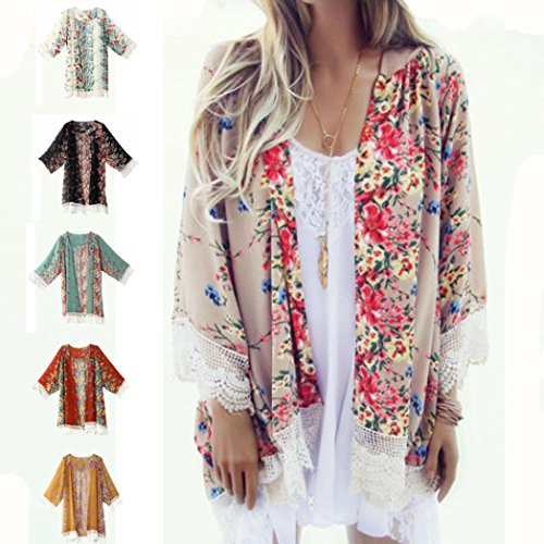 Sunward Chiffon Cardigan, Flower Print Open Front Shawl Kimono Coat Jackets Cover up Blouse Tops