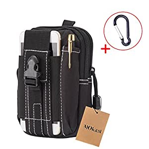 Mokasi@1000D Pouch Nylon Tactical Molle Bag Militarywith a belt loop Utility Waist Pack Pocket Money Purse for iphone 6s 6 plus 5s 5c Samsung Galaxy Note 5 4 3 LG G4 G3 (Black)