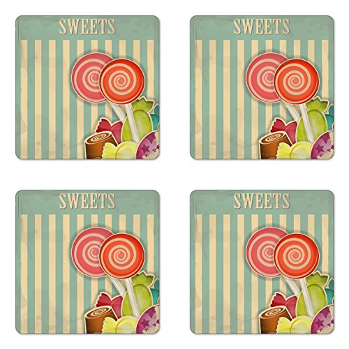 Lunarable Vintage Coaster Set of Four, Retro Old Candy Store