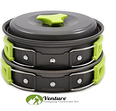 Camping Cookware Mess Kit-14 Pieces | Lightweight, Compact, Nonstick, & Durable Cooking Set | FDA Approved, Non-Toxic, & BPA Free BONUS-Stainless Steel Folding Utensil Set