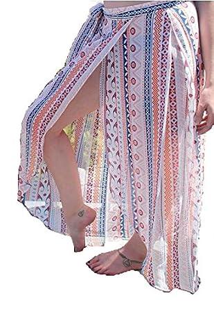 NICE BUY Vestido de la Playa de la Falda Envuelta étnica Maxi ...