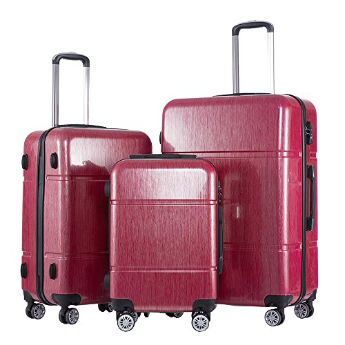 [Coolife Luggage 3 Piece Set PC+ABS Spinner Suitcase 20 inch 24 inch 28 inch Carry On Travel Luggage (red)] (20