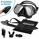 Dry Snorkel Mask Set Adult - Snorkeling Gear Equipment for Adult and Youth with Purge Valve Tube, Anti Fog 180 Panoramic Silicone Mask for Underwater Photography, Freediving, Spearfishing