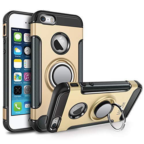 MAYtobe iPhone SE Case, iPhone 5S Case, iPhone 5 Case - Ultra Defender TPU + PC Shock for Apple iPhone 5S 5 SE Protective Ring Holder Case Work with Magnetic Car Mount 360 Rotating - Gold