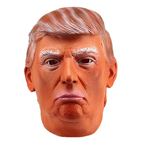 Quesera Men's Latex Mask President Donald Trump Role Play Halloween Cosplay Costume, Nude, free size fits US S-XL
