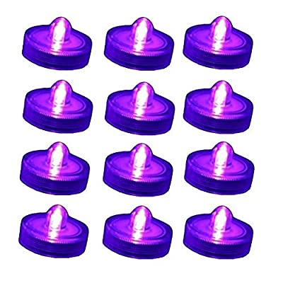Bright LED Battery Operated Flameless Tea Light, Submersible Tea Candle Waterproof Decorations Underwater Vase Light for Party and Wedding, Pack of 12, Purple Pink