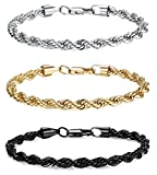 JOERICA 3PCS 6MM Stainless Steel Twist Rope Chain Bracelets for Men Women Link Bracelet 8.0-9.0inches
