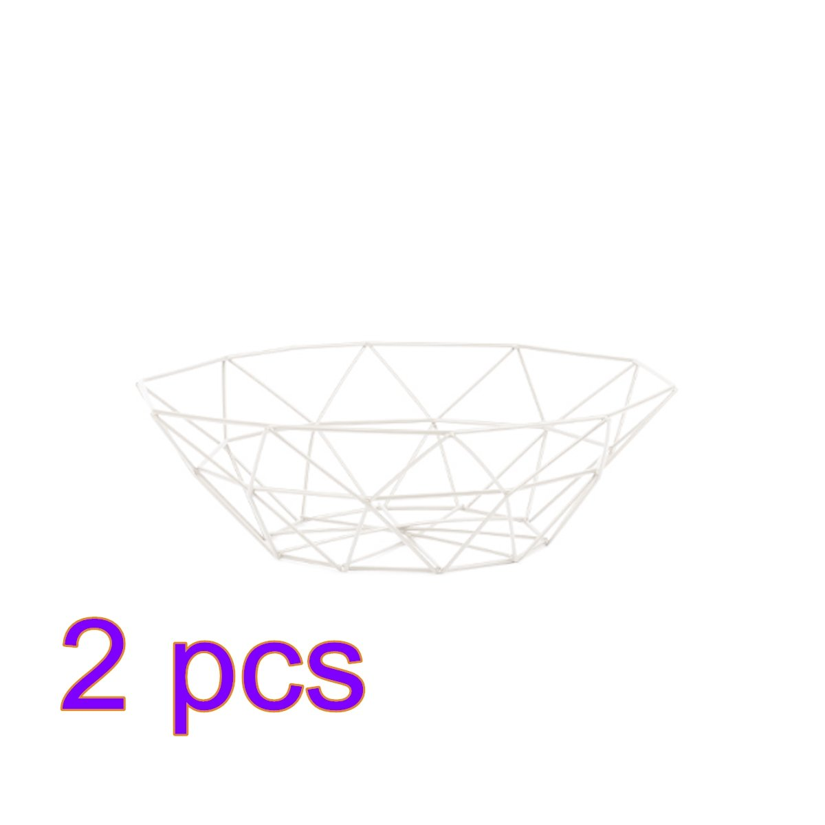 Fruit Bowl Two Pack, YIFAN Fruit/Vegetable Basket Iron Art Metal Market Basket, 10.6''x 10.6''x 3.15''(White)