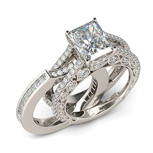 Radiant Diamond Cut Settings - Huitan 2PC Wedding Ring Set with Radiant Cut Cubic Zirconia Prong Setting Fashion Engagement Rings for Women (6)