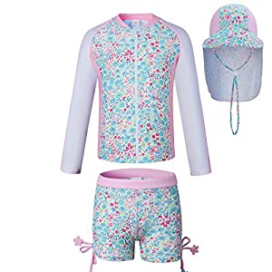 Vivo-biniya Kids Swimsuits Toddler Girl Two-Piece Swimsuits with Sun Hats UPF 50+uv (8(41.3-45.2in Height))
