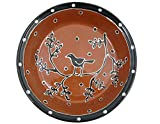 American Made Terra-cotta Pottery Deep Dish Pie Plate, 9.5-inch, Blackbird Motif