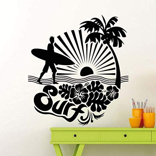 pbldb Surf Surfing Logo Adventure Sea Ocean Wall Stickers for Bedroom Boys Vinyl Decals Living Room Art Quotes Post Murals57X57 cm ()