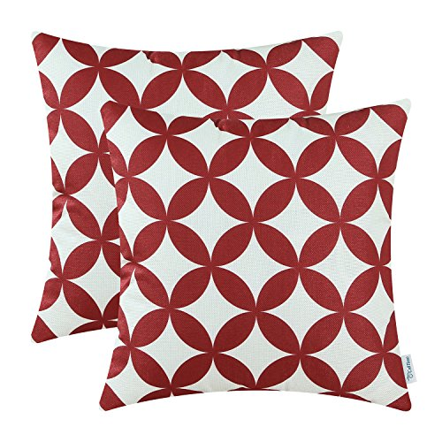 - CaliTime Pack of 2 Soft Canvas Throw Pillow Covers Cases for Couch Sofa Home Decoration Modern Circles Rings Chain Geometric 18 X 18 Inches Dark Red