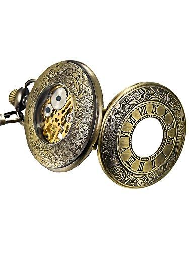 Mudder Vintage Chain Brass Mechanical Movement Pocket Watch for Men and Women