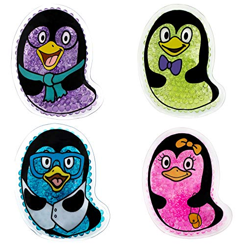 Penguin Kids Ice Packs, 4 Pack, Small Cold Therapy and Pain Relief for Minor Cuts, Burns, Scrapes, Injuries, Support Teething, Fevers and Sore Arms, Legs, Body