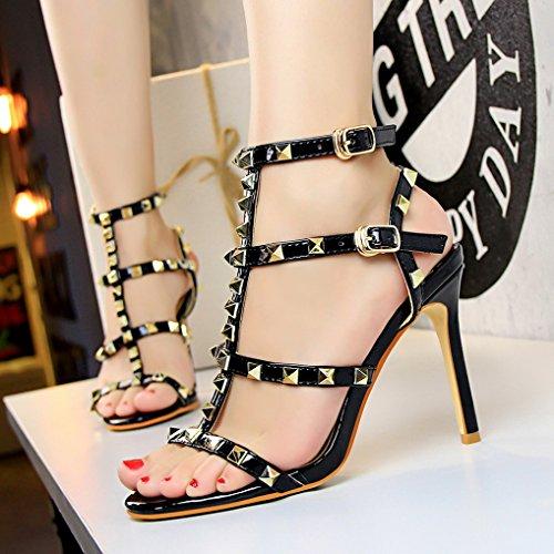 Sexy Chaussures Ouverte Haut Rivet Aiguille Classique Lanières Noir Sandales Femme Soirée Talon Oaleen O4wtYq5