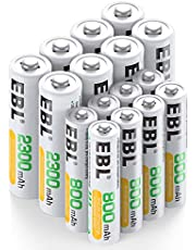EBL oplaadbare batterijen 16 stuks - batterijen AA 2300mAh 8 stuks met batterijen AAA 800mAh 8 stuks