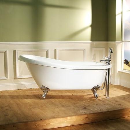 Slipper Bath Uk Freestanding bath tub slipper roll top acrylic white 1600 amazon freestanding bath tub slipper roll top acrylic white 1600 sisterspd