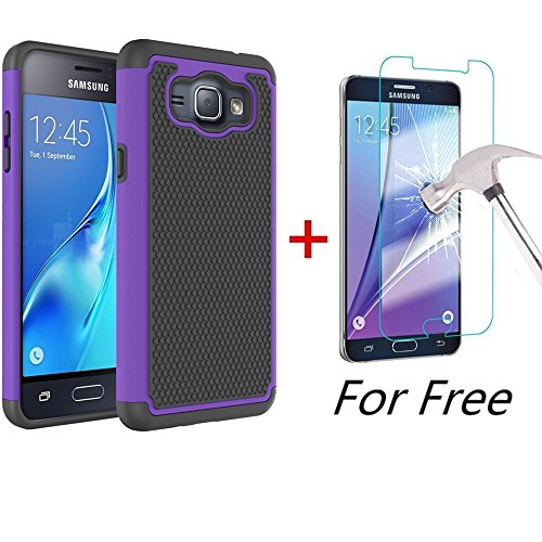 Amp 2 Case, Galaxy Express 3 Case, MCUK [Shock Absorption] Hybrid Dual Layer Armor Defender Protective Case With Tempered Glass Screen Protector (Purple) ()