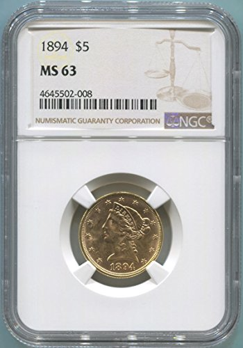 1894 P $5 Gold (Pre-1933) MS63 NGC