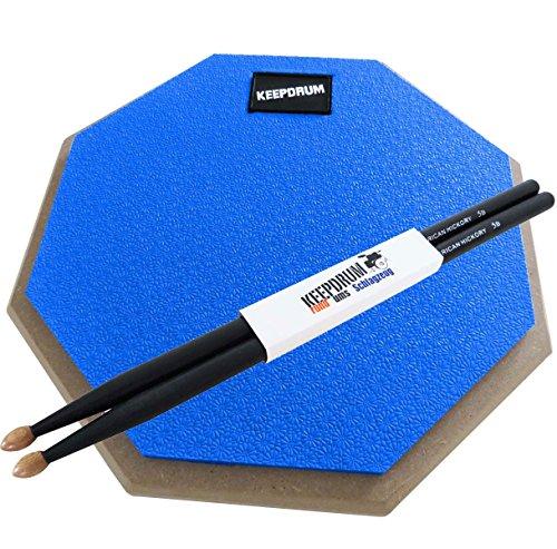 KEEPDRUM DP-BL Practice Pad Blau Drum Übungspad 8mm Gewinde + 1 Paar 5BB BLACK Drumsticks