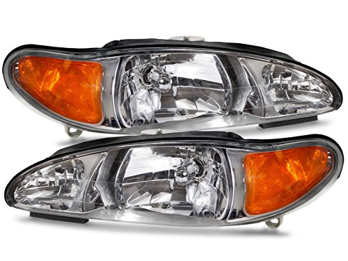 HEADLIGHTSDEPOT Chrome Housing Halogen Headlights Compatible with Ford Mercury Escort Tracer Includes Left Driver and Right Passenger Side Headlamps