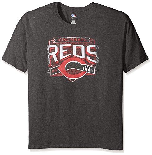 Profile Big & Tall MLB Cincinnati Reds Women's Team Short Sleeved Screen T-Shirt, 2X, Charcoal/Heather