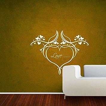 Amazon.com: DreamKraft Love Heart Floral Wall Decor Art Stickers ...