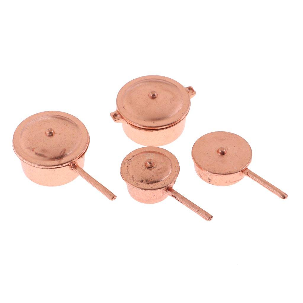 MagiDeal 4pcs Casseroles de Poup/ée avec Couvercle Miniature D/écoration pour 1//12 Dollhouse Blythe Licca