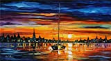 100% Hand Painted Oil Paintings Modern Abstract Oil Painting on Canvas To See the Sunrise with Me Home Wall Decor (8X14.5 Inch, Oil Painting 2)