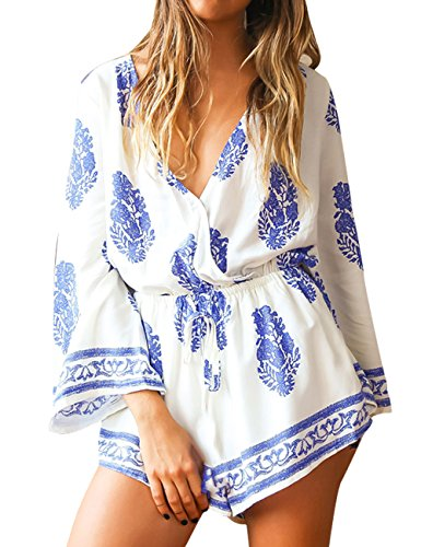 DDSOL Womens Boho Cover Up Slim Style Deep V-Neck Beach Casual Short Jumpsuit See Through Rompers Swimsuit Size S-XL