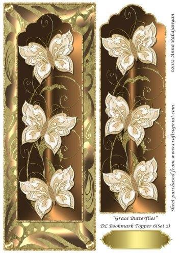 Grace Butterflies DL Bookmark Topper 6 (Set 2) by Anna Babajanyan Craftsuprint