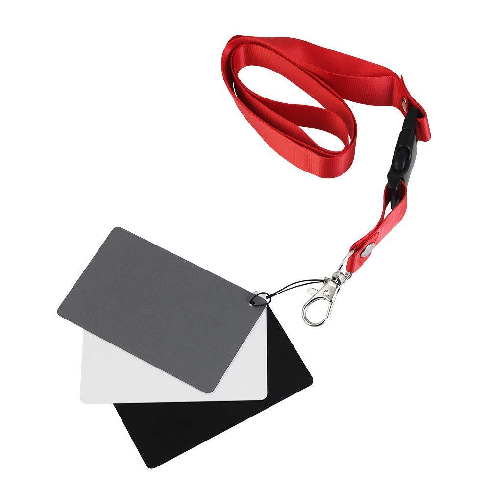 FAVENGO 3 in 1 Carta Grigia Carta di Bilanciamento del Bianco 18% Esposizione con Fotografica con Laccio per Calibrazione Personalizzata Calibrazione Fotocamera, Video, DSLR e Film (8.5 * 5.4cm)