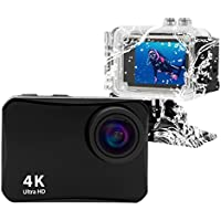 4K Action Camera,Vmotal Ultra HD Wifi Waterproof Sports Camera with 4K/2.7K/ 1080P60/ 720P90fps Video, 16MP Photo Waterproof Underwater Cam (Black)