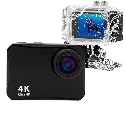 Action Camera 16MP 4K WiFi Waterproof Sports Cam 150 Degree Ultra Wide-Angle Len with Rechargeable Batteries and Mounting Accessories Kits Black