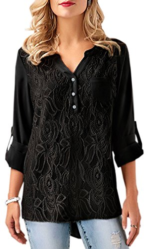 JAONLEN Womens Loose Button V-Neck Tops Casual Solid Long Cuffed Sleeve Floral Lace Blouses S-XXXL (XXX-Large, (Black Button Tab)