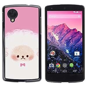 Be Good Phone Accessory // Dura Cáscara cubierta Protectora Caso Carcasa Funda de Protección para LG Google Nexus 5 D820 D821 // Puppy Cute Pink White Sheep