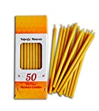 50 Natural Pure Beeswax Decor Taper Candles ( 6'') Natural Honey Scent