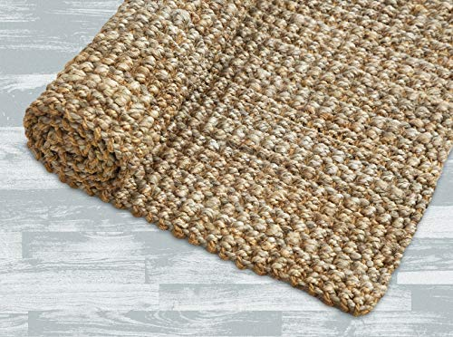 Iron Gate Handspun Jute Area Rug 5×8 Hand Woven by Skilled Artisans, 100 Natural Jute Yarns, Thick Ribbed Construction, Reversible for Double The wear, Rug pad Recommended