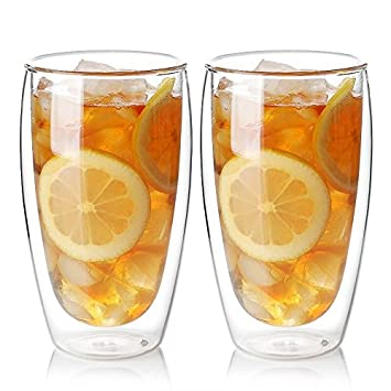 Zen Room Ultra Clear Strong Double Wall Glass Insulated Thermo /& Heat Resistant Design Made of Real Borosilicate Glass 16oz Set of 6 Dishwasher and Microwave Safe