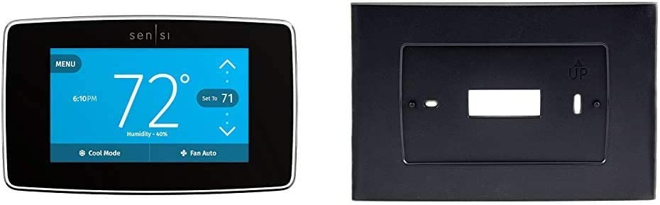 Emerson Sensi Touch Wi-Fi Smart Thermostat with Touchscreen Color Display, Works with Alexa, Energy Star Certified, C-Wire Required, ST75 & A5B for Sensi Touch Wi-Fi Thermostat, Black
